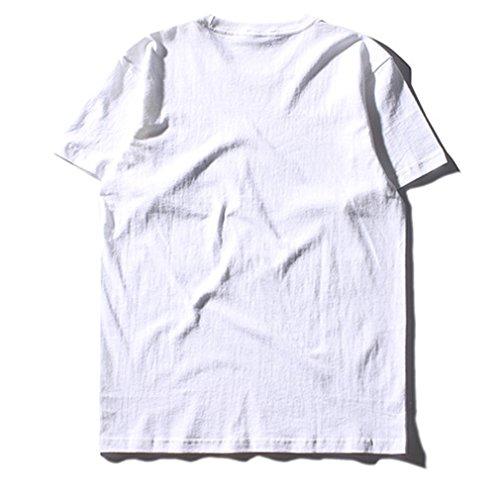 Honghu Herren einfach kurze Ärmel T-Shirt Weiß