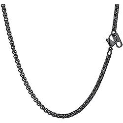 PROSTEEL - Collar de Hombre de Acero Inoxidable Cadena Veneciana Cadena de Eslabones Cuadrados 3mm Ancho Box Chain