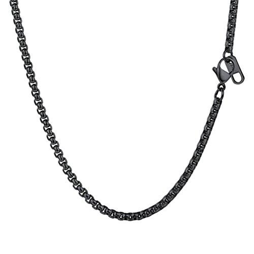 PROSTEEL Halskette Hochwertig Edelstahl Ankerkette Erbskette 3MM Breite Herren Kette mit Karabinerverschluss 51CM Lang Schwarz