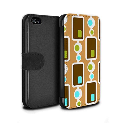 Stuff4 Coque/Etui/Housse Cuir PU Case/Cover pour Apple iPhone 4/4S / Années 50/1950 Design / Modèle Décennie Collection Années 70/1970