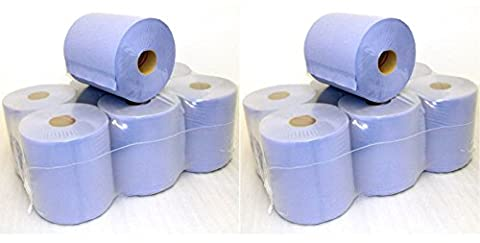 12 PACK 2 PLY 105m X 170mm BLUE CENTREFEED EMBOSSED PAPER ROLLS