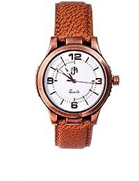 Wonder White Dial Round Shape Leather Belt Analog Watch For Men & Boys