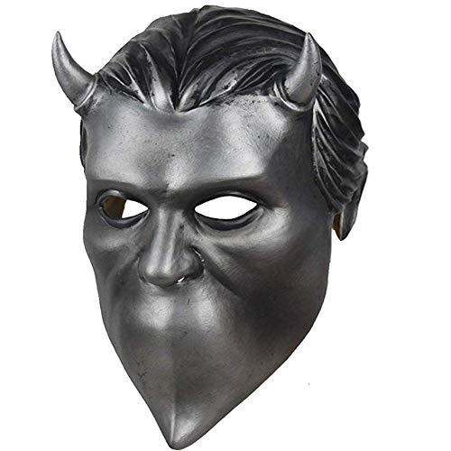 Ghost Kostüm Weihnachtsgeschenk - WLXW Halloween Cosplay Requisiten, Anonym Ghoul Latex Maske Ghost Heavy Metal Doom Hard Rock Band Helm, Sammleredition