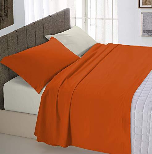 Italian Bed Linen Natural Color Natürlicher Farbenbettblatt-Satz (Flat 180x300, Fitted Sheet 120x200cm+Pillowcase 52x82cm), Benzin Flasche grün, 100% Baumwolle, earthy/creme, KLEINE DOPPELTE - Nc-flat