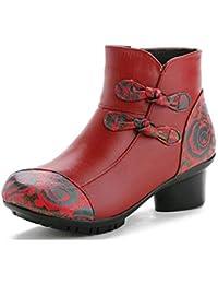 Los Botines Retro de Las Mujeres, Zapatos de Cuero de la Vendimia de Las Mujeres Botines Cortos del Estilo étnico Retro para Las Mujeres Calzan los Zapatos
