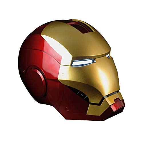 K-Flame Cosplay Masken Marvel Legends Iron Man Elektronischer Helm Erwachsene Kostüm Neuheit Zubehör für Weihnachtsfeier Kostüm Prop,Gold,60cm