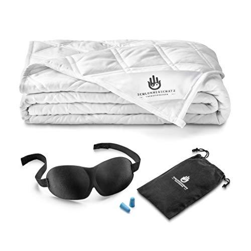 SCHLUMMERSCHATZ Premium Gewichtsdecke 135x200 cm - Schwere Therapiedecke für Kinder und Erwachsene - Weighted Blanket - beschwerte Decke - Therapie Calm Blanket (Weiß, 8)