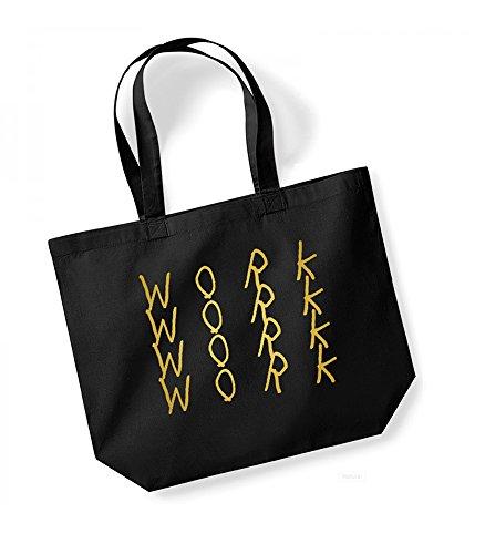 Work, Work, Work, Work - Large Canvas Fun Slogan Tote Bag Black/Gold