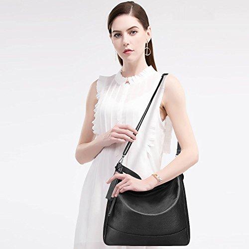 S-ZONE Borsa a tracolla in borsa a tracolla di media borsa a tracolla in borsa Hobo borsa in pelle in vera pelle donna Nero