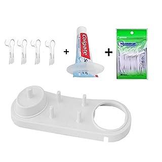 FOURCHEN Zahnbürstenhalter für Oral-B Elektrozahnbürsten Aufsteckbürsten halter Ständer für Zahnbürstenköpfe Ladegerät +4 pcs Zahnbürstenköpfe etuis für Oral-B+ Werkzeug für Zahnpasta+Zahnseide Sticks