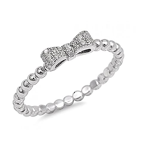 925 Sterling Silver Bow Tie Cubic Zirconia Ring (N 1/2)