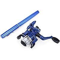 Wenquan,Portátil Mini Aluminio Baitcasting Pocket Pen Shape Fish Rod Pesca Carrete(Color:Azul)