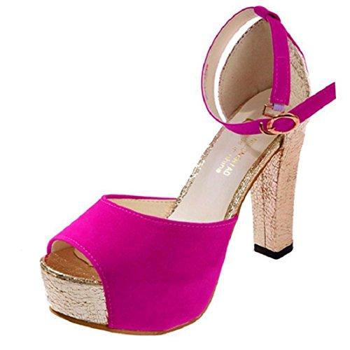 jeansian Moda Donna Sexy Peep Toe Stiletti Scarpe col Tacco Sandali Heels Shoes Sandals WSB002 Red 39