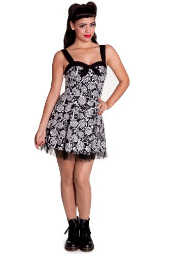 Hell Bunny dell'abito AVALON MINI DRESS 4306 nero/bianco X-Small