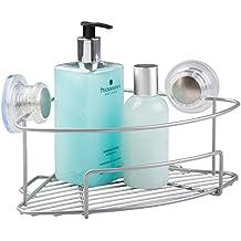 Mueble esquinero baño con ventosas de mDesign color plateado - Sin  necesidad de taladrar 6b74c1e83ea5