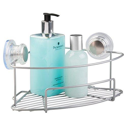 Mdesign mensola doccia angolare da appendere con ventose - ripiano portaoggetti per shampoo, balsamo, sapone, cosmetici - argento