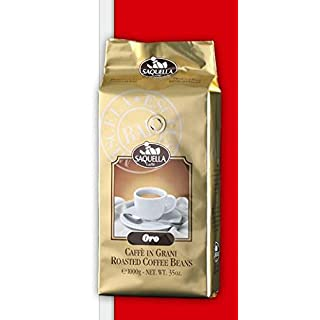 Saquella Espresso Oro Bar exkl. Ausleese, wenig Koffein, intensives Aroma 1 Kg ganze Bohne