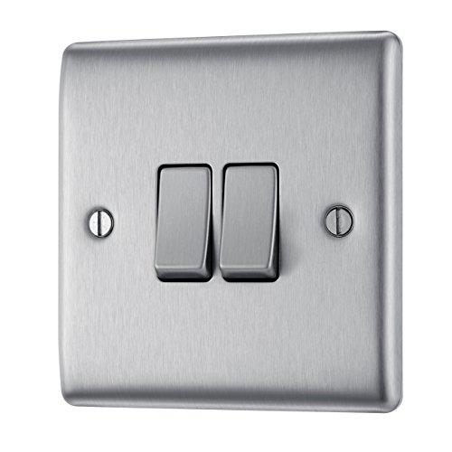 Masterplug NBS42 10A - Interruptor doble de luz, de acero cepillado, 2...