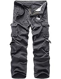 Anyu Hombre Casual Multibolsillo Pantalones Cargo de Trabajo Resistentes y con Pantalones de Seguridad