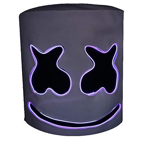 Musik Kostüm Festival - Marshmallow Helm Maske, DJ Music Festival Cosplay Kostüm Bar Musik Requisiten Neuheit Erwachsenen Maske, mit LED-Licht, Cold Light Line