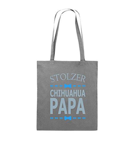 Comedy Bags - Stolzer Chihuahua Papa - Jutebeutel - lange Henkel - 38x42cm - Farbe: Schwarz / Weiss-Neongrün Dunkelgrau / Eisblau-Blau