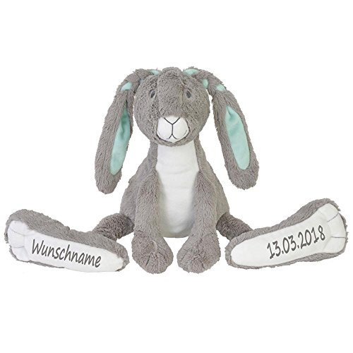 Stofftier Hase mit großen Füßchen mit Namen und Geburtsdatum personalisiert Geschenk grau 31cm