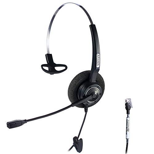 Arama Wired Headset Corded Mono w Noise Cancelling Mikrofon für NEC Aspire Dterm Nortel Norstar Meridian Plantronics Polycom ShoreTel Siemens ROLM Toshiba Zultys Packet8 Landline Deskphones (A200S2)