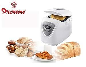 Premsons Plastic Automatic Machine 2LB Programmable Bread Maker, Gluten-free Breadmaker (White)