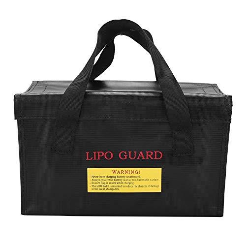 Battery Safe Bag - Explosionsgeschützte Lipo Safe Bag Aufbewahrungstasche zum Aufladen von Batterien (Silber und Schwarz) (Farbe : Black)