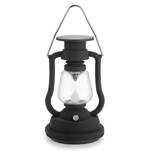 SODIAL(R) Solar Campinglampe 7 LED Camping Leuchte Campinglaterne Weiss mit Hacken Schwarz
