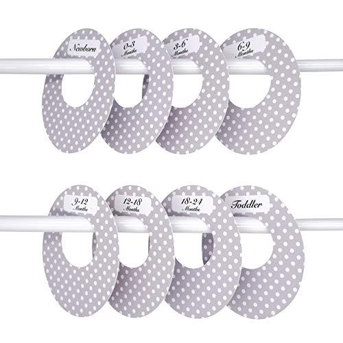 8 Kunststoff-Trenner für den Babykleiderschrank, Schrank-Organizer für Kleidung vom Neugeborenen bis zum Kleinkind, neutrales Grau, Polka Dots