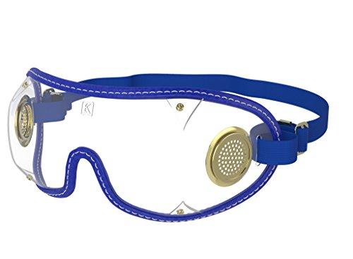 kroops Schutzbrille Original Messing-Brillen komplett mit gratis kroops Schutzbrille Mikrofaser Aufbewahrungstasche, Royal Blue Trim