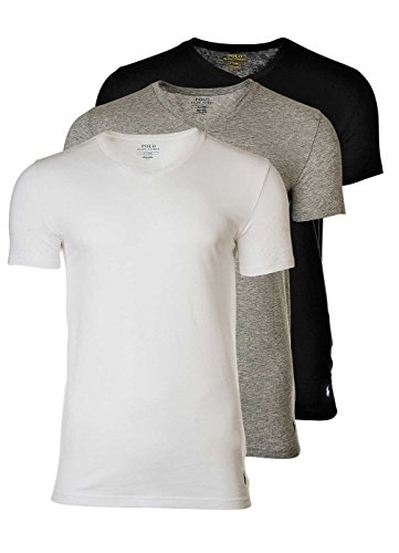 Polo Ralph Lauren 3 Pack Camisetas Hombre, Cuello V, Media Manga - Blanco  f7b381c6dfbb