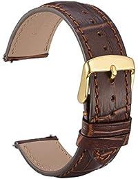 wocci liberación rápida reloj bandas, de repuesto correa para reloj de piel de cocodrilo con hebilla de metal dorado pins