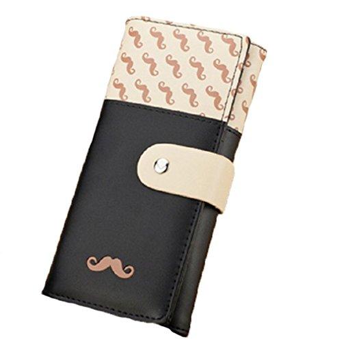 Hengsong Donna PU Pelle Borsa Portafoglio Tasche Wallet Purse Carta Brose Baffi Modello Barba (Rosa Caldo) Nero