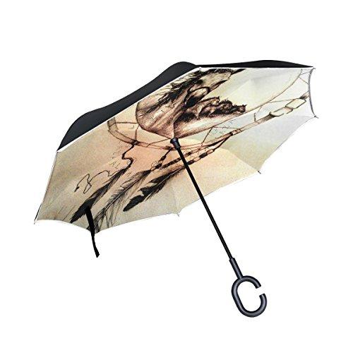 jstel doble capa invertida Atrapasueños caballo paraguas coches Reverse resistente al viento lluvia paraguas para coche al aire libre con asa en forma de C