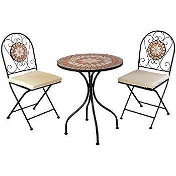 Amazon.de: 3tlg. Mosaik Gartengarnitur Mosaiktisch Ø70cm