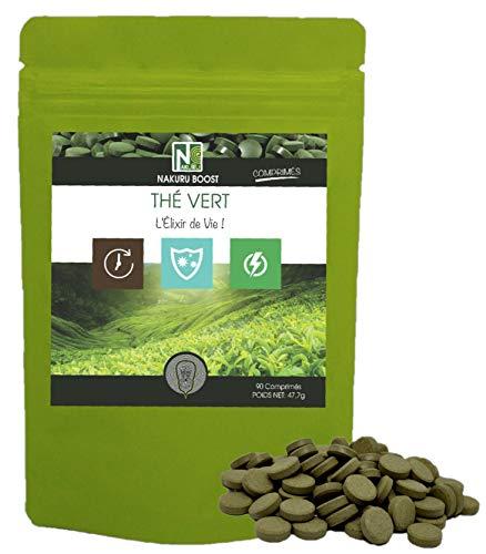 Thé Vert | 90 Comprimés de 530mg | NAKURU Boost | Poudre Bio Séchée et Compressée à Froid |...