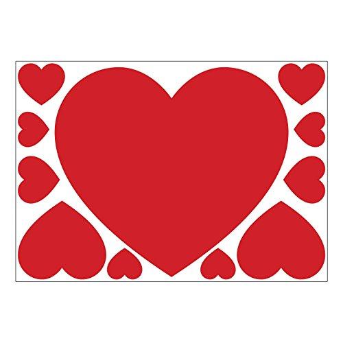 Set di 11cuori rossi di san valentino in vinile autoadesivo per muri, finestre e vetrine, vinile, red, a4 sheet (large)
