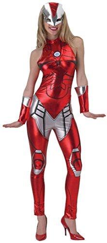 Damen Offiziell Marvel Sexy Iron Man Overall Catsuit Superhelden Comic Kostüm Kleid Outfit UK 6-18 - Rot, 6-8 (Iron Man-kleid)