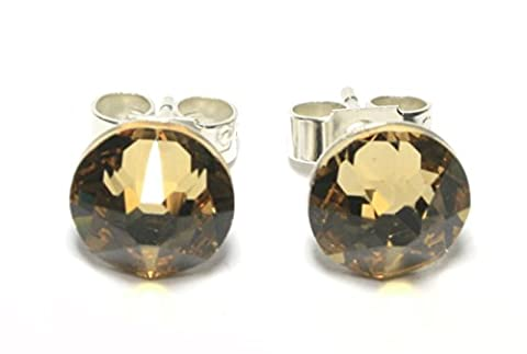 Sparkly 7mm Light Colorado Topaz Sterling Silver Crystal Stud Earrings Made With SWAROVSKI ELEMENTS