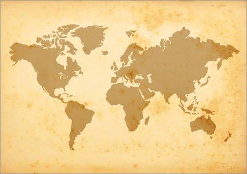 Land Mittel-wandhalterung (Posterlounge Holzbild 160 x 120 cm: vergilbte Weltkarte von Editors Choice)