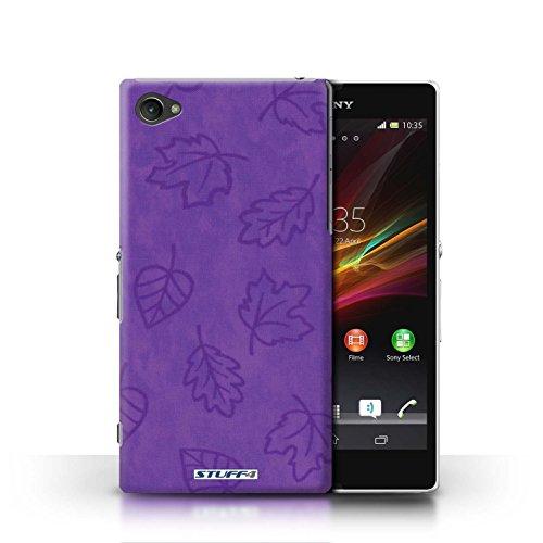 Kobalt® Imprimé Etui / Coque pour Sony Xperia Z1 Compact / Rose conception / Série Motif Feuille/Effet Textile Pourpre