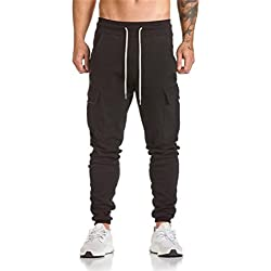 Hombre Pantalón Deportivo Jogger Militar Camuflaje Estilo Urbano Pantalones Casuales para Hombre Chándal de Hombres Xinan (Negro)