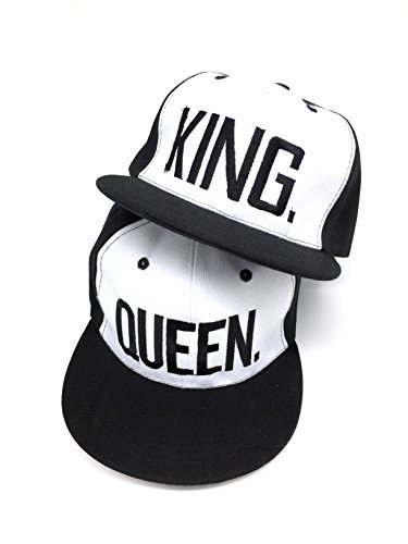 *Nanxson (TM) Unisex Männer Damen Baseballcap Sport Buchstabe Druck verstellbar Sonnenhut Kappe MZM0049 (Weiß King+Queen)*