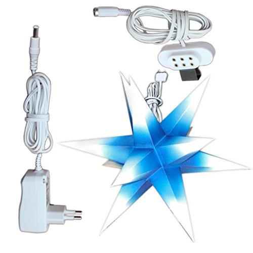 e (Art.Nr.5), Durchmesser 19cm, Papier, blau mit weißen Spitzen, handgefertigt, beleuchtet mit Netzteil für den Innenbereich (Handgefertigter Weihnachtsschmuck)