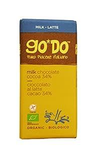 """Barretta Cioccolato al Latte Biologico """"Go*Do"""" Cacao (34%) - 2 x 85g - Prodotto Italiano"""