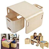 lyrlody Tisch und Stühle für Kinder, Holz Kindersitzgruppe Sitzgruppe 3 in 1 Multifunktionale Kindermöbel für Mädchen und Jungen, 1 Wendetisch + 2 Wendehocker