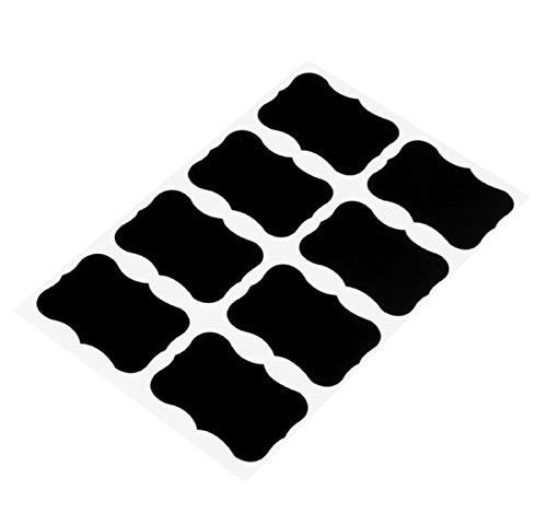 Etiketten 48 Stück abnehmbare Tafel Aufkleber mit löschbaren Kreide Marker Wiederverwendbare Tafel Aufkleber für Gläser, Kanister, Lagerplatz (schwarz) ()