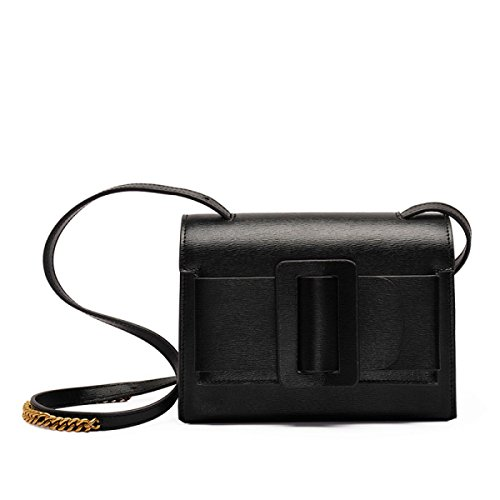 WU Zhi Lady In Pelle Messenger Borsa A Tracolla Black